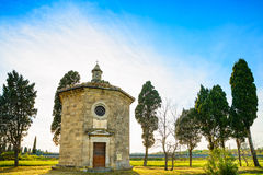 San Guido Oratorio church and cypress trees. Maremma, Tuscany, I Stock Photos