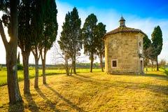 San Guido Oratorio church and cypress trees. Maremma, Tuscany, I Stock Photos