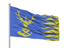 San Hubert City Flag On Flagpole, Belgio, isolato su fondo bianco Illustrazione Vettoriale