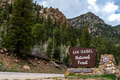San isabel national forest sign in colorado Stock Photos