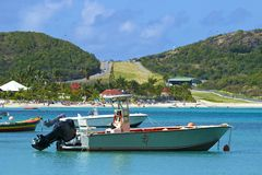 San Jean beach and airport in St Barths, Caribbean Stock Photos