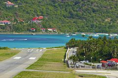 San Jean beach and airport in St Barths, Caribbean Royalty Free Stock Photos
