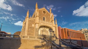 San Jeronimo el Real is a Roman Catholic church timelapse hyperlapse from the early 16th-century in central Madrid Spain stock footage