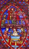 San John Boiling Stained Glass Sainte Chapelle Paris France immagine stock