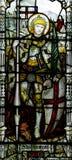San Jorge con el dragón en vitral Fotografía de archivo