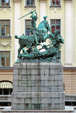 San Jorge y la escultura del dragón en la ciudad vieja de Estocolmo Fotografía de archivo libre de regalías