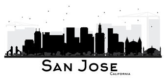 San Jose California City skyline black and white silhouette. Simple flat concept for tourism presentation, banner, placard or web site. Cityscape with stock illustration