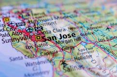 San Jose, California en mapa foto de archivo