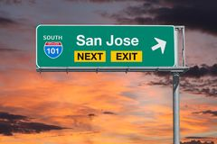 San Jose Route 101 Next Exit Freeway Sign with Sunset Sky Royalty Free Stock Image