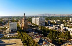 San Jose California and Silicon Valley. The view on the north part of the downtown of San Jose, California, the capitol of Silicon Valley, high tech center of royalty free stock images