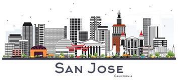 San Jose California Skyline avec Gray Buildings Isolated sur Pentecôte illustration stock