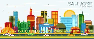 San Jose California Skyline avec les bâtiments de couleur et le ciel bleu illustration libre de droits