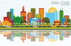 San Jose California Skyline avec les bâtiments de couleur, le ciel bleu et le R illustration libre de droits