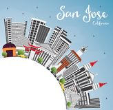 San Jose California Skyline with Gray Buildings, Blue Sky and Co. Py Space. Vector Illustration. Business Travel and Tourism Concept with Modern Architecture Royalty Free Stock Images