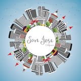 San Jose California Skyline with Gray Buildings, Blue Sky and Co. Py Space. Vector Illustration. Business Travel and Tourism Concept with Modern Architecture Royalty Free Stock Photo