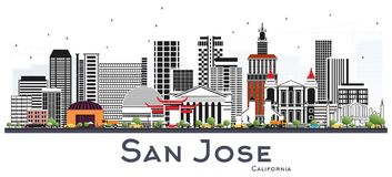 San Jose California Skyline with Gray Buildings Isolated on Whit Royalty Free Stock Photos