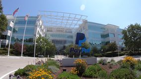 Paypal gate in San Jose. San Jose, California, United States - August 12, 2018: facade of Paypal HQ in Silicon Valley. Paypal is an american corporation stock video footage