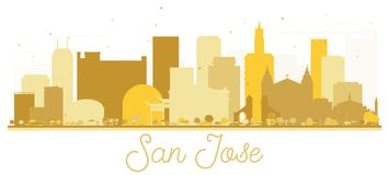 San Jose California USA City Skyline Golden Silhouette. Vector Illustration. Simple Flat Concept for Tourism Presentation, Banner, Placard or Web Site. San Stock Image