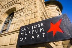 San Jose, California / USA - December 6, 2017 - San Jose Museum of Art logo in downtown San Jose, San Francisco bay, California stock photography