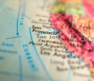 San Jose, California USA  focus macro shot on globe map for travel blogs, social media, web banners and backgrounds. San Jose, California USA  focus macro shot Stock Photos