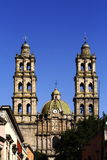 San Jose church. View of the Bell Towers of the San Jose Temple in Morelia Michoacan, Mexico Royalty Free Stock Photography