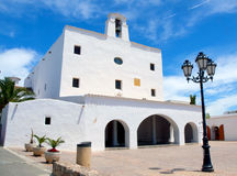 San Jose church in Ibiza. Exterior of San Jose church on island of Ibiza with blue sky and cloudscape background, Spain Stock Photography