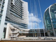 San Jose City Hall. View of San Jose City Hall with blue sky and clouds Stock Photo
