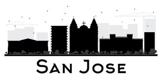 San Jose City skyline black and white silhouette. Vector illustration. Simple flat concept for tourism presentation, banner, placard or web site. Cityscape Royalty Free Stock Photography