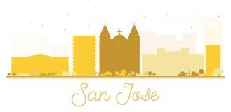 San Jose City skyline golden silhouette. Royalty Free Stock Photo