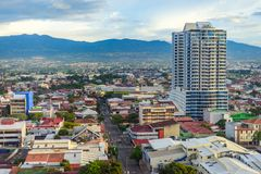 San Jose Costa Rica capital city. Street view with mountains in the back royalty free stock photography