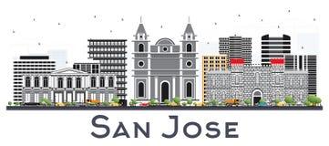 San Jose Costa Rica City Skyline avec des bâtiments de couleur a isolé o illustration libre de droits