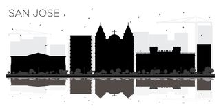 San Jose Costa Rica City Skyline Black and White Silhouette with. Reflections. Vector Illustration. Simple Flat Concept for Tourism Presentation, Banner Stock Photos