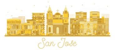 San Jose Costa Rica City Skyline Silhouette avec les b?timents d'or d'isolement sur le blanc illustration de vecteur