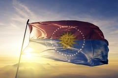 San Jose Department av tyg för torkduk för Uruguay flaggatextil som vinkar på den bästa soluppgångmistdimman stock illustrationer