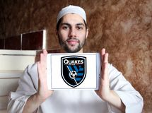 San Jose Earthquakes Soccer Club logo. Logo of San Jose Earthquakes Soccer Club on samsung tablet holded by arab muslim man. San Jose Earthquakes are an American Royalty Free Stock Photography