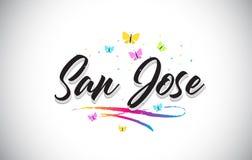 San Jose Handwritten Vetora Word Text com borboletas e Swoosh colorido ilustração stock