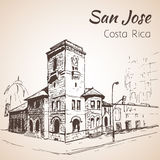 San Jose i stadens centrum hand dragen cityscape Costa Rica skissa stock illustrationer
