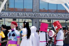 San Jose McEnery Convention Center during Fanime. 2015. FanimeCon (By Fans, For Fans) is Northern California's largest celebration of anime, manga, games, music Royalty Free Stock Images