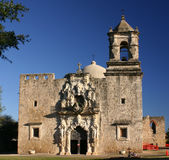 San Jose Mission. Mission San Jose in San Antonio Texas showing dome and deep blue sky Royalty Free Stock Photography
