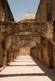 San Jose Mission in San Antonio. Arched walkway leading to the church in  San Jose Mission in San Antonio, Texas Stock Images