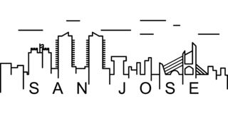 San Jose outline icon. Can be used for web, logo, mobile app, UI, UX vector illustration