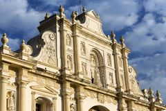 San Jose Parish Antigua Guatemala Cathedral Building Exterior. The Facade of San Jose Parish, former site of Magnificent Antigua Cathedral, at east side of royalty free stock photography