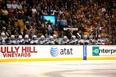 San Jose Sharks bench. During their game against the Boston Bruins Royalty Free Stock Images
