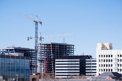 San Jose skyline with new skyscrapers under construction, Silicon Valley, San Francisco bay area, California stock photography