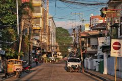 9/27/17 San Jose st looking W Dumaguete Philippines stock images