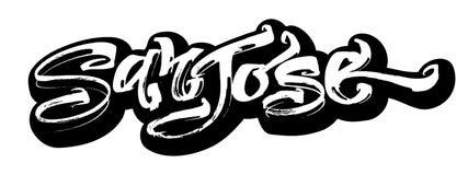 San Jose sticker Letras modernas de la mano de la caligrafía para la impresión de la serigrafía imagen de archivo