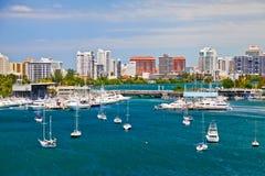 San Juan, PR -美丽的San Juan海湾景色 库存图片