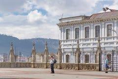 San Juan Basilica Esplanade Quito Ecuador Fotografia Stock Libera da Diritti