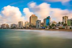 San Juan Beach Skyline. San Juan, Puerto Rico resort skyline on Condado Beach stock photography