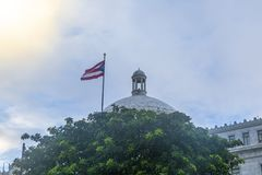 San Juan Capitol building with Puerto Rico flag in San Juan royalty free stock photos